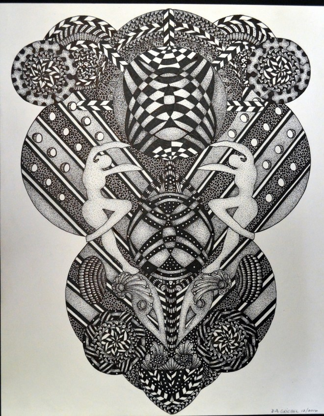"""Title THE ABSTRACT MIND Medium pen and ink Size 14""""x17"""""""
