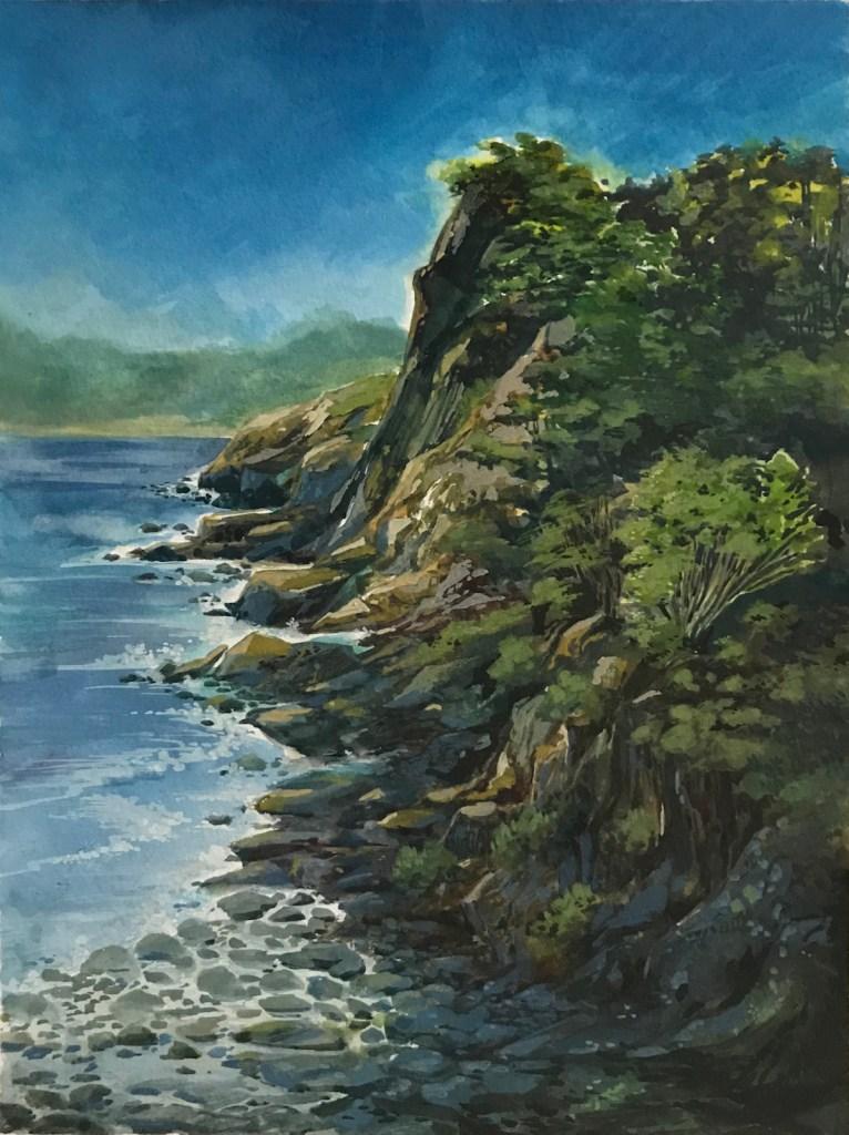 Title Lands End Medium Watercolor Size 9x12