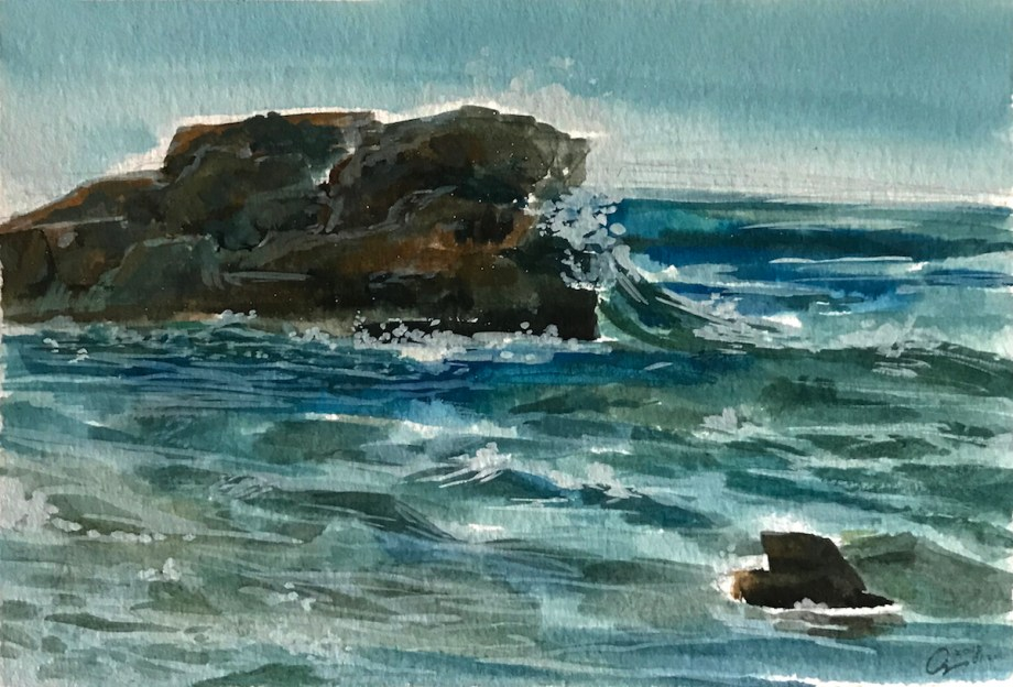 Title Waves Medium Watercolor Size 5x7