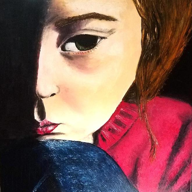 """Title """"THE STORY IN THEIR EYES VIII"""" Medium Oil in Canvas/spatulla Size 96cm X 96cm"""