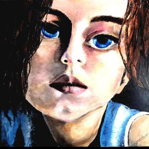 """Title """"THE STORY IN THEIR EYES I"""" Medium Oil on Canvas/ Spatulla Size 96cm X 96 cm"""