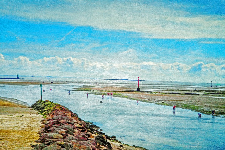 Title Clamdiggers, Le Pouliguen, Bretagne, France Medium Photograph/Digital Mixed Media