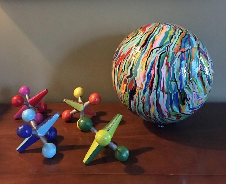 Title Memories Medium Acrylic Paint and Mixed Media Sculpture Size Ball 13 inch diameter, Jacks 6 1/2 x 6 1/2