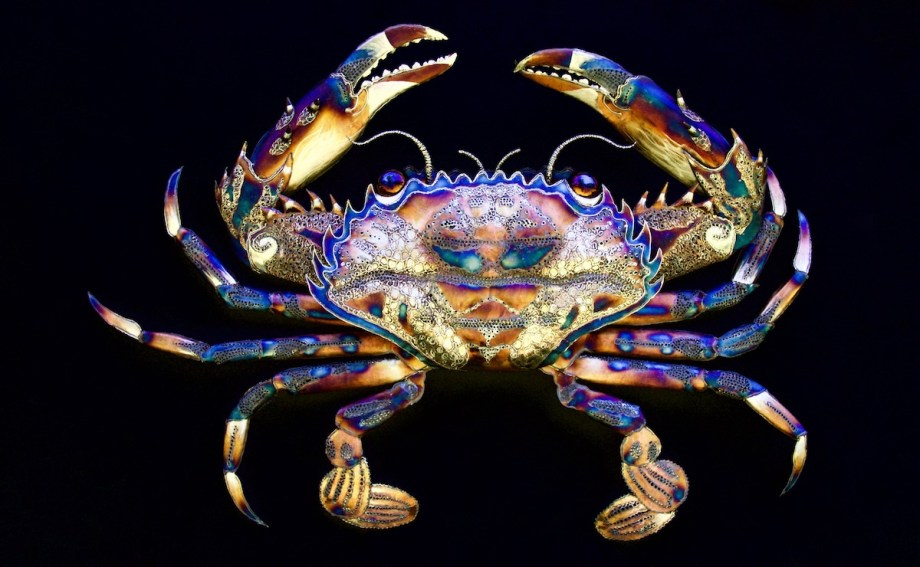 "Title Ornate Crab Medium Stainless Steel Size 70"" Wide X 48"" Tall X 8"" Deep"