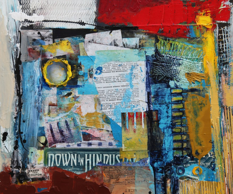 "Title French connection Medium Mixed media on canvas Size 20""x24""x1.5"""