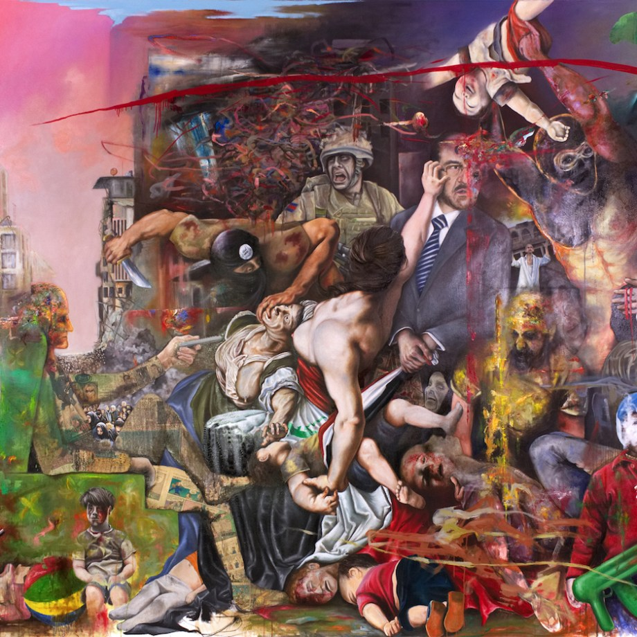 """Title The Massacre of the Innocents Medium Oil, Charcoal and Collage on canvas Size 89"""" x 116"""""""