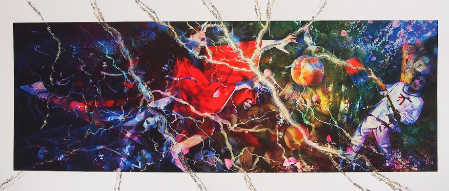 Title Hades-Kojiki- Medium Giclee Print, Acrylic, Gold,Silver and Copper Leaf Size 90×38cm