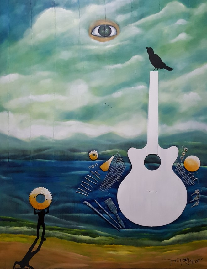 Title My Old Guitar Series#5 Medium Oil on Panel Size 4'X5'