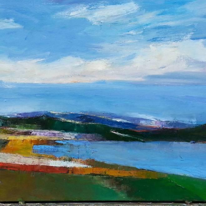 "Title Eastman Lake Medium Oil on canvasa Size 28"" x 22"""