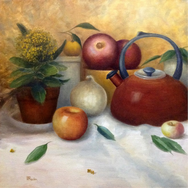 """Title Still Life With Red Kettle Medium Oil Size 20""""x20"""""""
