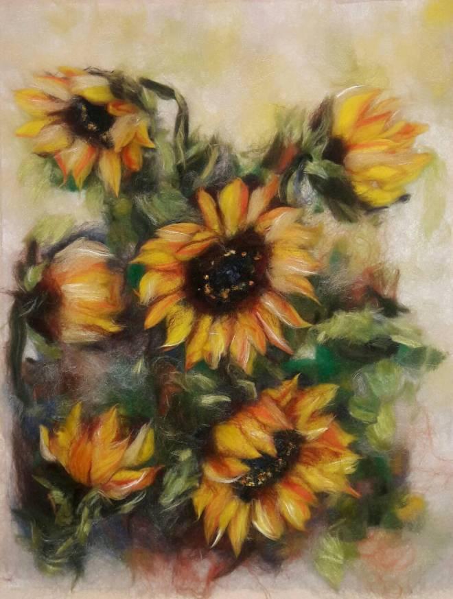 Title Sunflowers Medium Wool Art Size 20x30