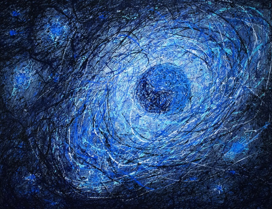 """Title Planetary Formation Medium Acrylic on stretched canvas Size 46""""x60"""""""
