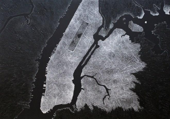 Title NYC 33 years after Trump Medium acrylic, giclée on canvas Size 94 x 133 cm