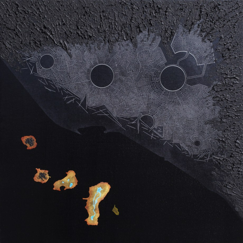 Title Derelict / Black i-602 Medium acrylic, giclée on canvas Size 60 x 60 cm