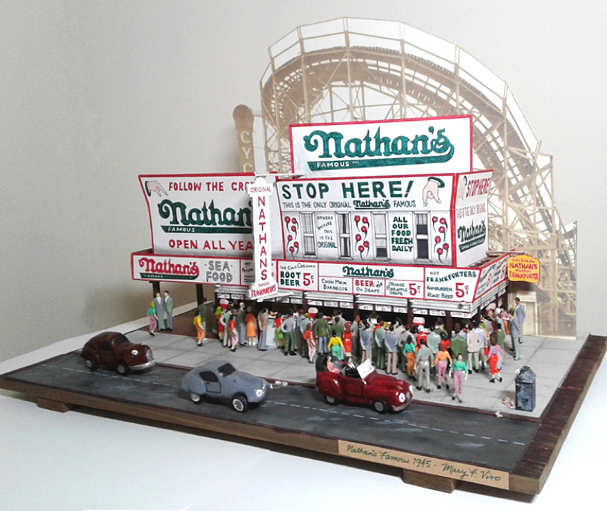 "Title Nathan's Famous 1945 Medium Mixed Size 13"" x 17"" x 12"""