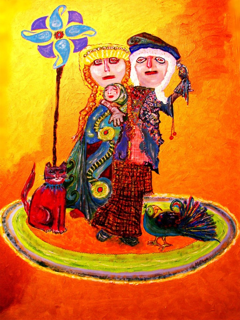 """Title Peruvian Family, Chancay Period, 1400BCE Medium Acrylic on Gallery-wrapped Canvas Size 30""""X40"""""""