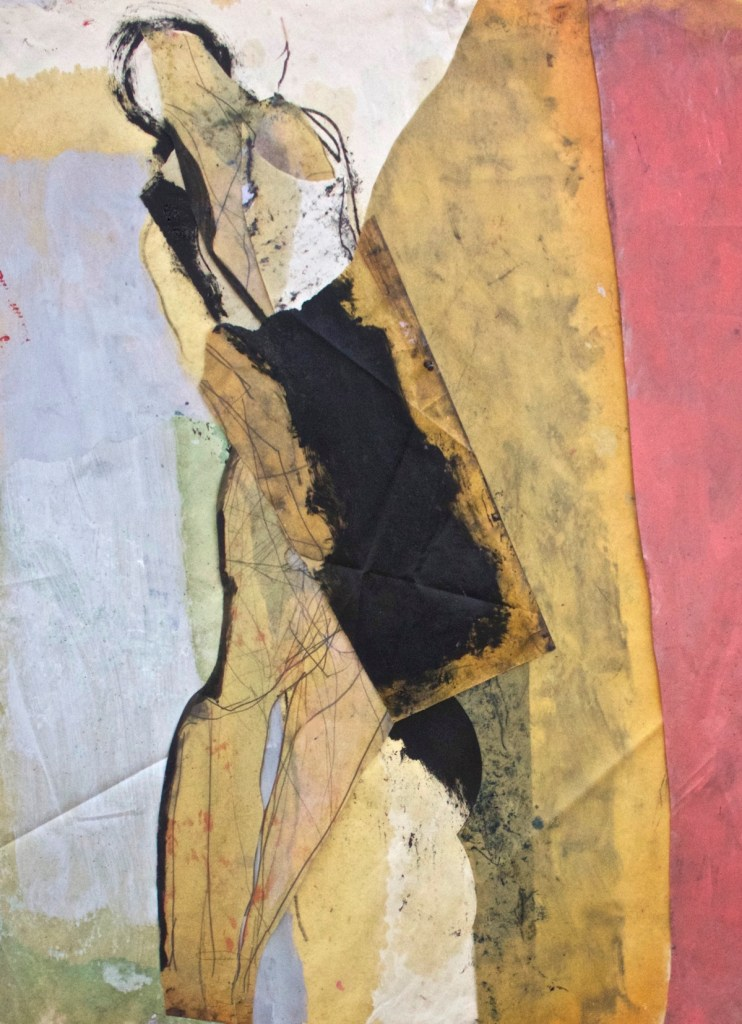 """Title beyond the safety of the false Medium oil paper collage Size 36 x 48 """""""