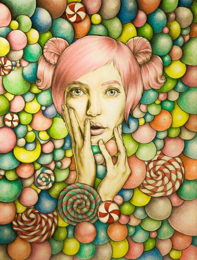 Title Candy girl Medium Graphite, color pencil, aquarelle pencil on paper Size 420 x 598 mm