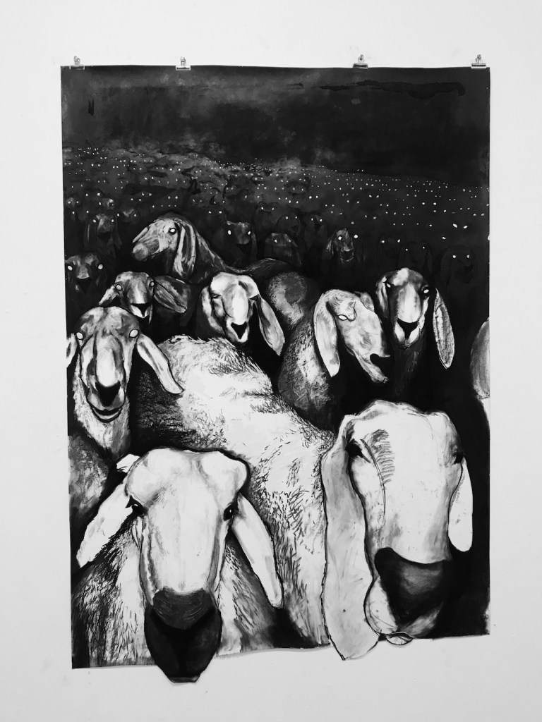 Title Sheepish Medium Charcoal Size 5 Feet x 8 Feet