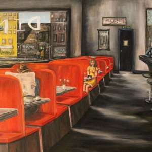 """Title Same DIner, Every Tues. Medium Oil Size 30""""x40"""""""