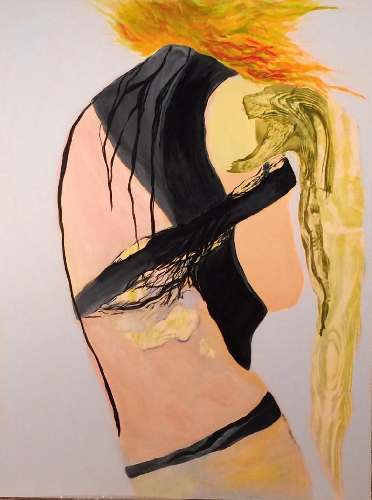 "Title untitled Medium acrylic on claybord Size 40""x30"""