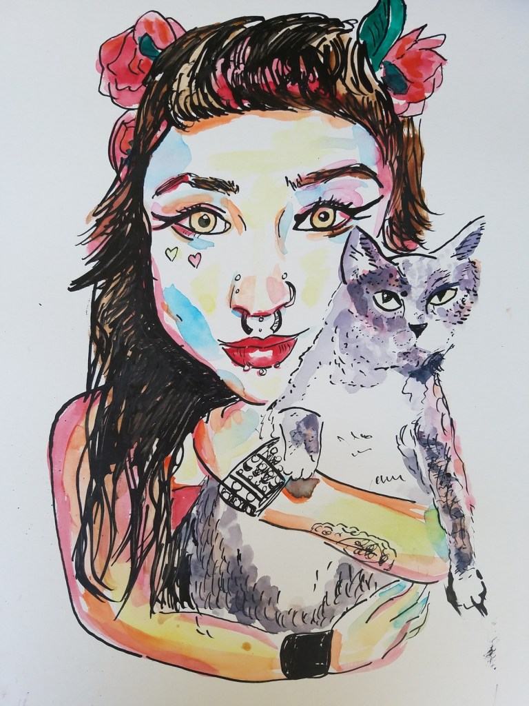 Title A nymph and her familiar Medium Watercolor and Indian ink Size 11x14