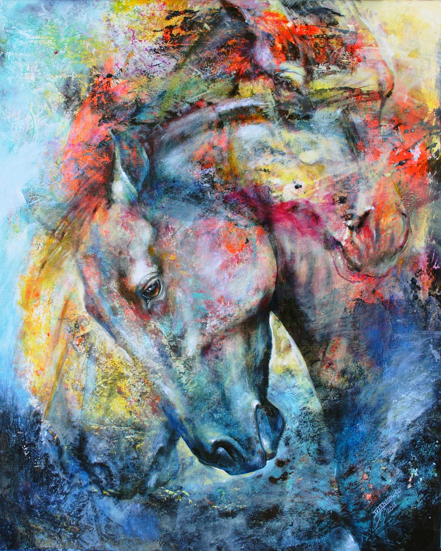 Title Western Dust - Mottled Horses Medium acrylic on canvas Size 30x24