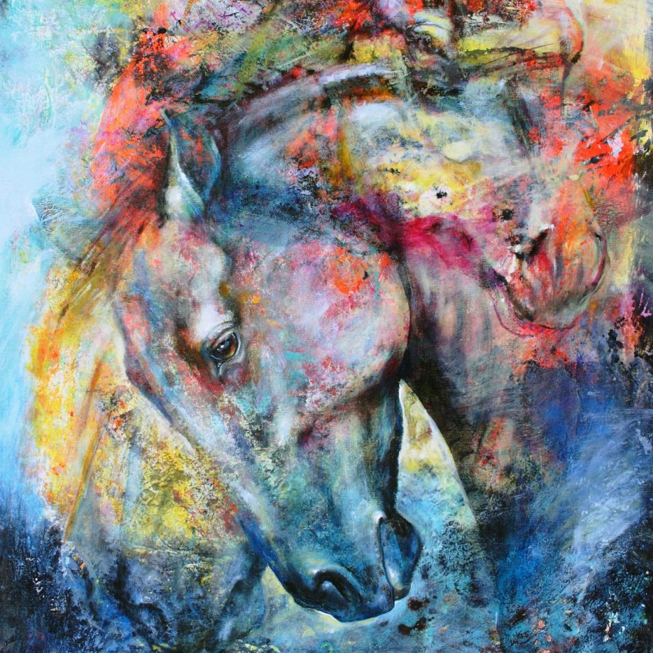 Title Western Dust - Mottled Horses Medium acrylic on canvas Size 30x24