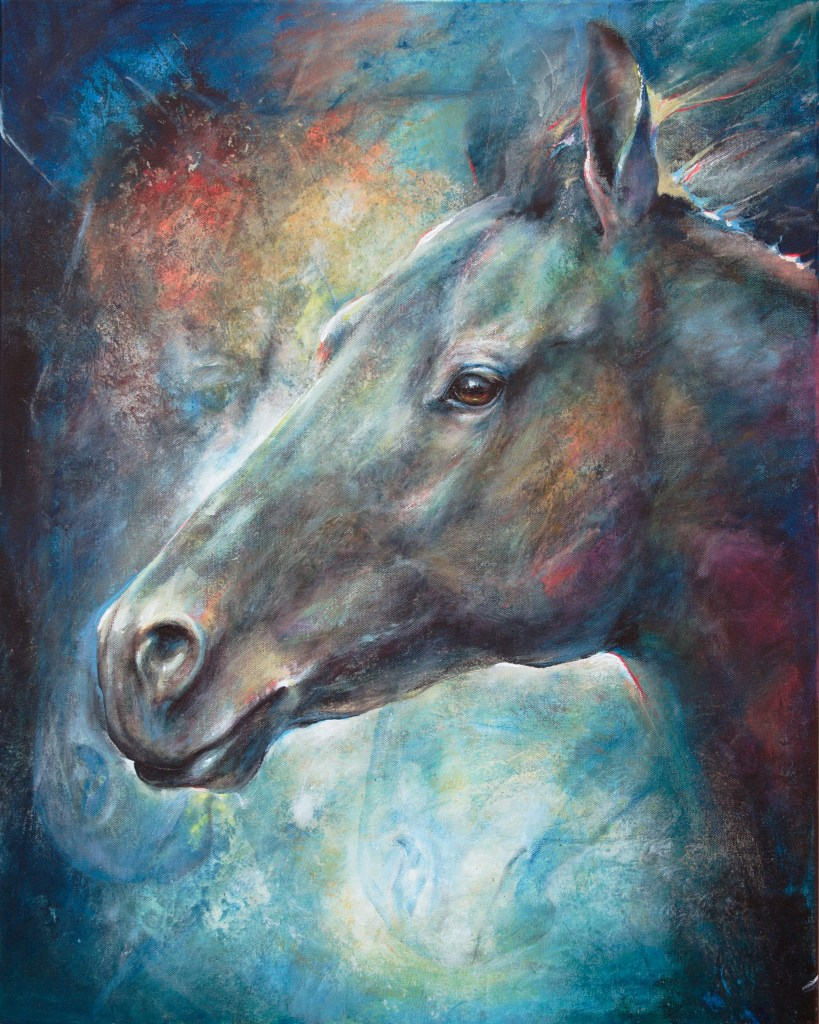 Title Twilight Shadow - Mottled Horses Medium acrylic on canvas Size 30x24