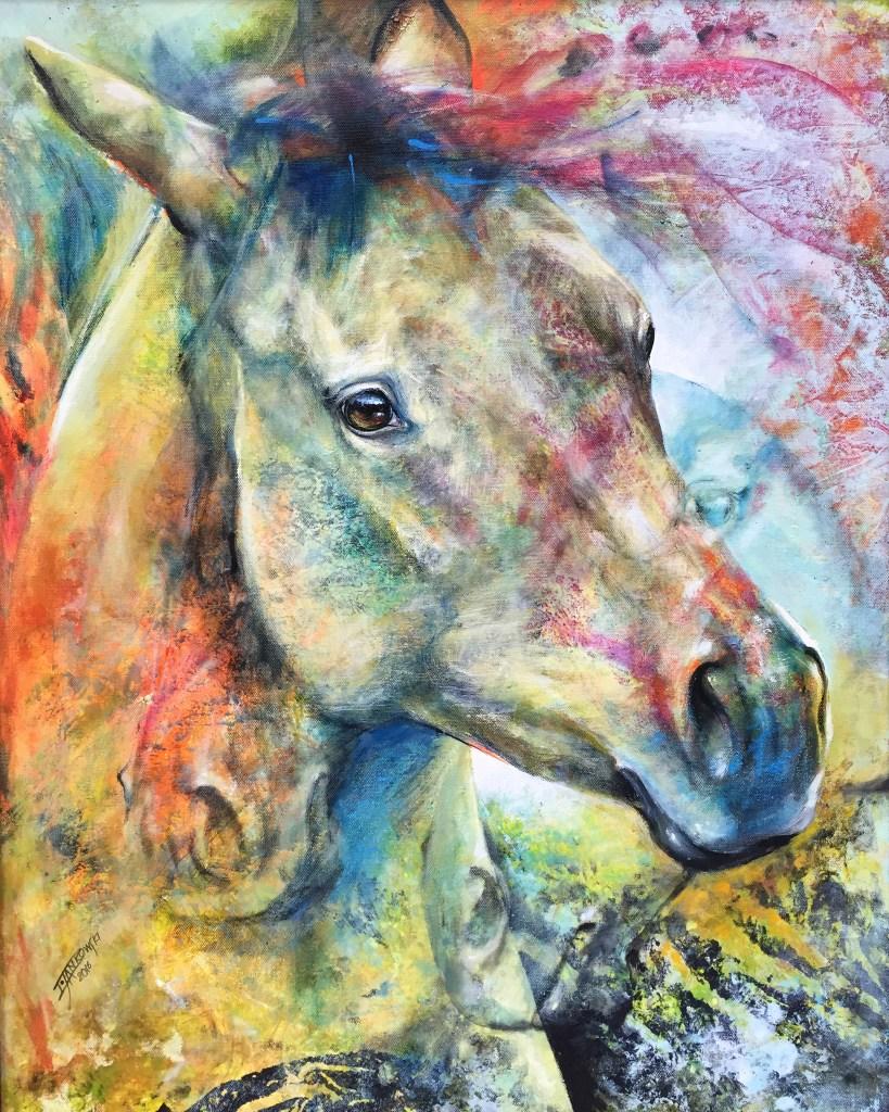 Title Sunset Breeze - Mottled Horses Medium acrylic on canvas Size 30x24
