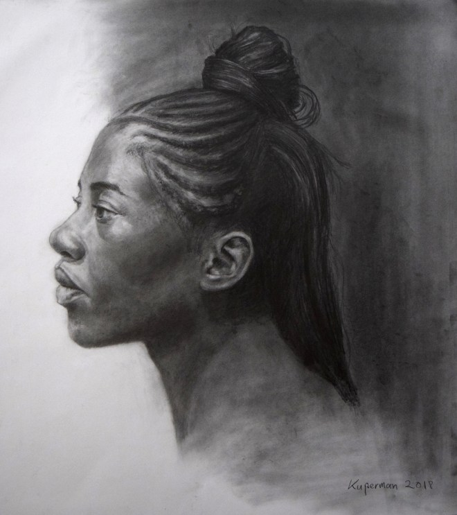 Title Portrait of Shona Medium Graphite on Paper Size 18 x 16 inches