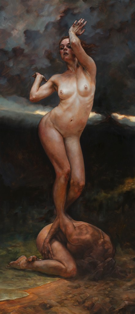 "Title Birth of the Muse - the Elements Medium Oil on linen Size 26""x 60"""