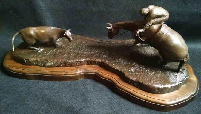 Title Helpin Dad...Unforseen Cut Medium Bronze Sculpture Size 24L x 11W x 12Tall x 80lbs