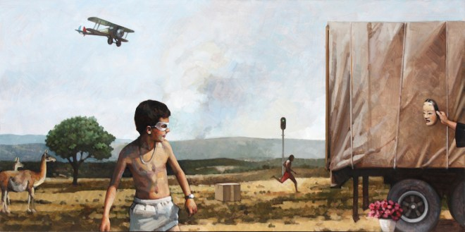 Title Borderland Revisited 1 Medium oil on panel Size 15 x 30 inches