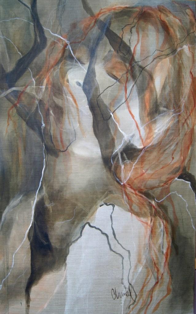 Title Redleaves IV Medium acrylic on raw canvas Size W80xH130xD2cm