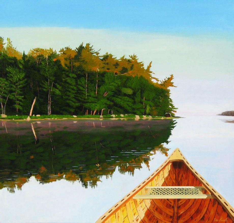 """Title """"West By Nort West"""" 44º22'56"""" N 65º14'36"""" W Medium Acrylic on Canvas Size 42.5""""w x 40""""h"""