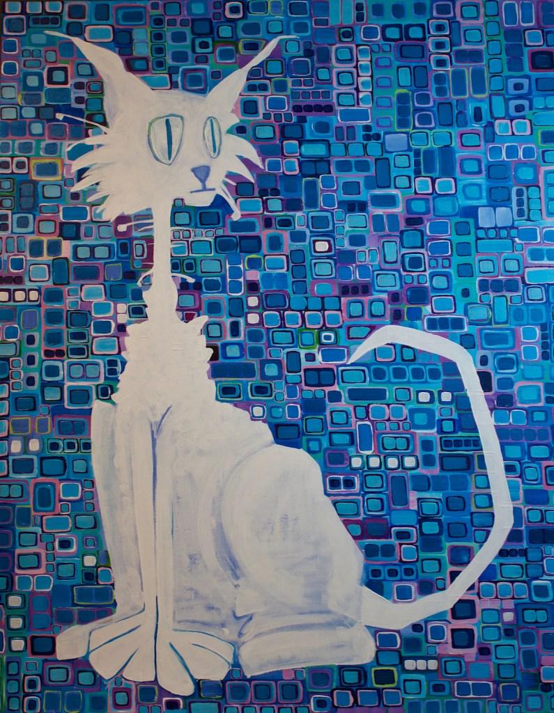 "Title Scruffy the Cat Medium acrylic on canvas Size 28""x30"""