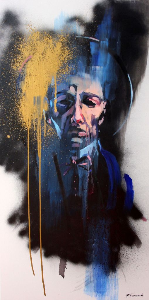 Title Saint I Medium oil on canvas, graffiti paints Size 39,37 x 19,69 inch