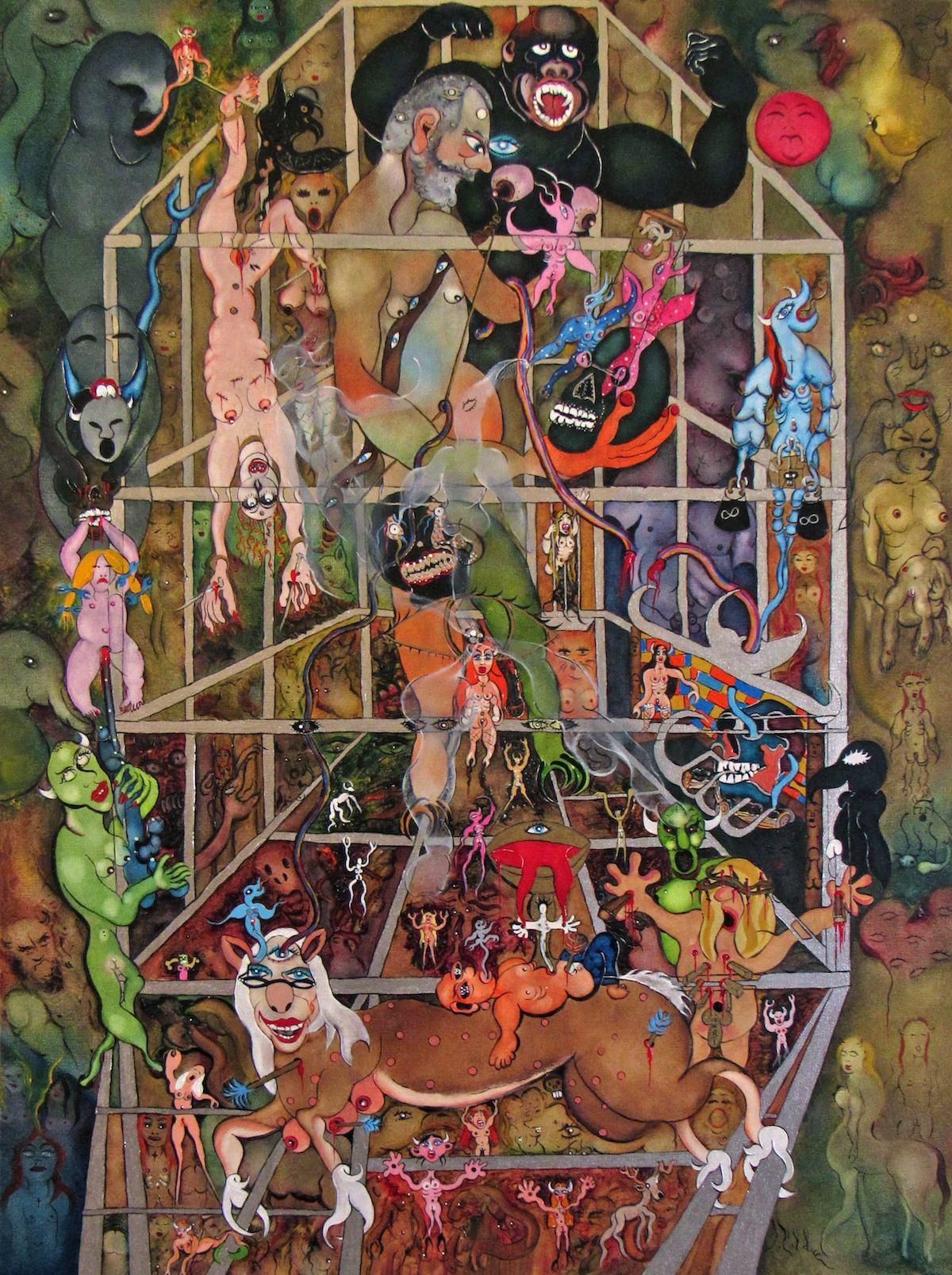 Title LE SCULPTEUR, L'OEIL DU POURQUOI (Sculptor, the eye of reason) (2016) Medium Oil on Canvas Size 30 X 40 inches
