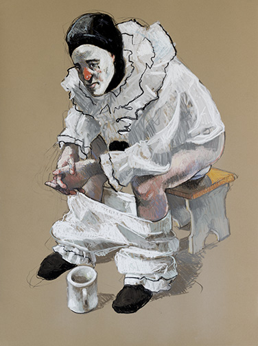"""Title """"Pierrot with coffee"""" Medium russian clay , charcoal and pastel Size 22x30"""