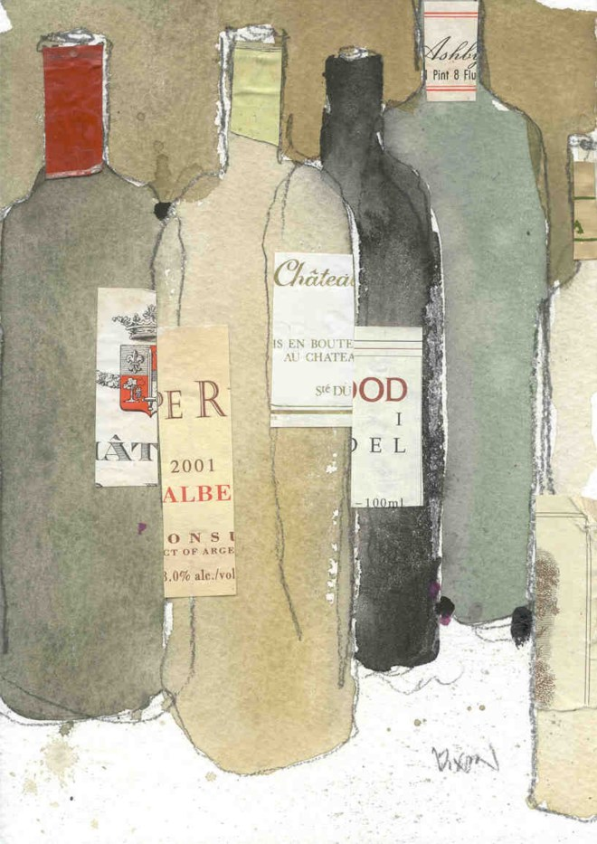 """Title After the Dinner Party Medium Watercolor amd mixed medium Size 5"""" x 7"""""""