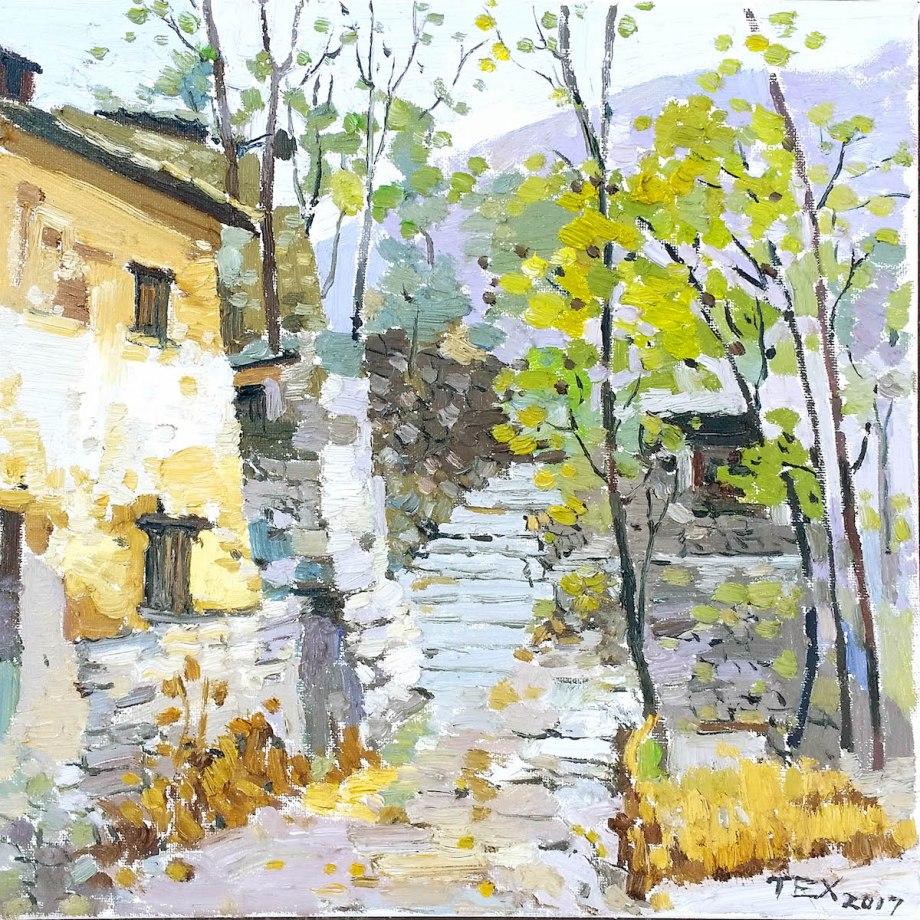"""Title Mountain village 1 Medium Oil on canvas Size 12""""x12"""""""