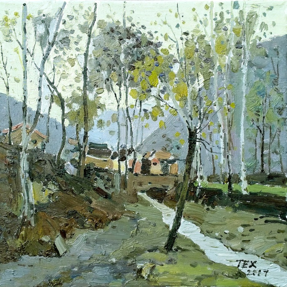 "Title Mountain village 2 Medium Oil on canvas Size 12""x12"""