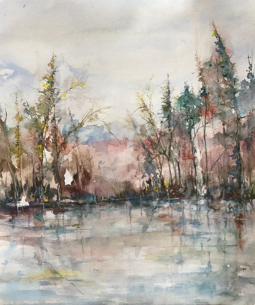 "Title Winter's Dawn Medium Watercolour Size 20x17"""