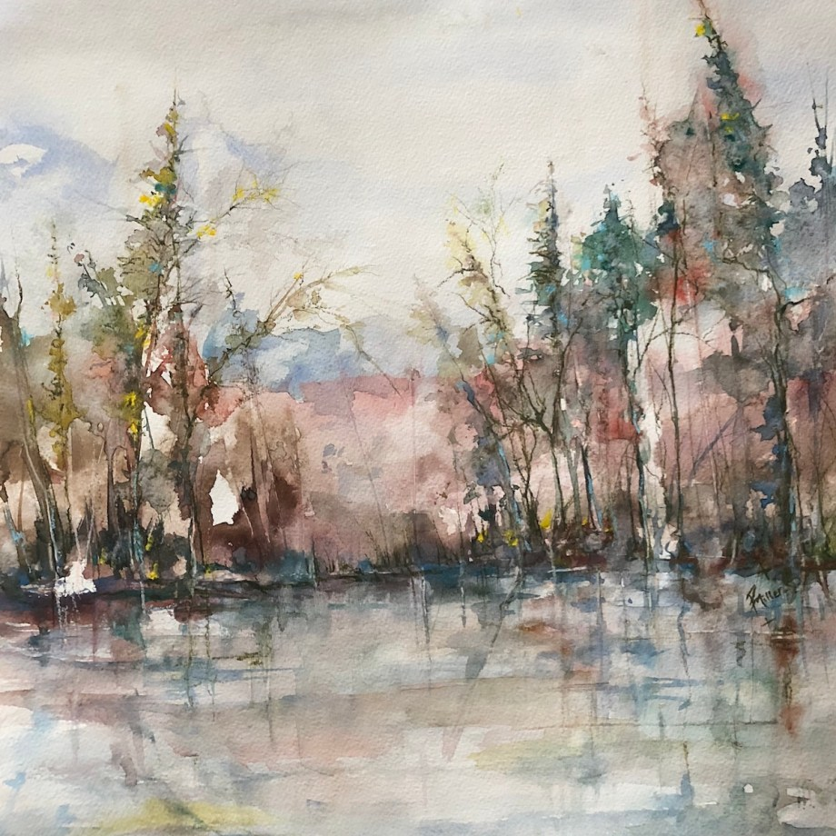 Title Winter's Dawn Medium Watercolour Size 20x17""