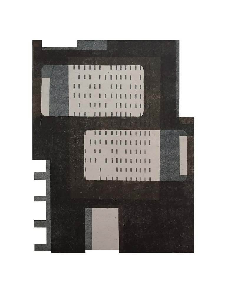 """Title Factory III Medium Monoprint and collage Size 16"""" x 12"""""""