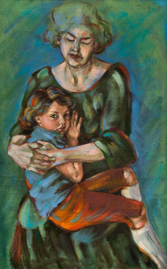 Title Mother with Daughter Medium Oil on Linen Size 115 x 73 cm