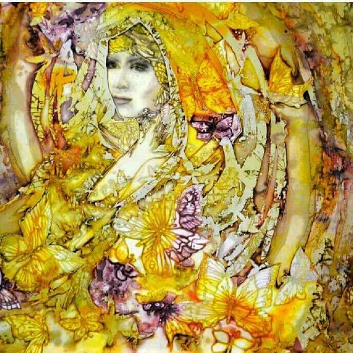 Title LADY BUTTERFLY Medium Painting on silk,batik Size 40x40 inch