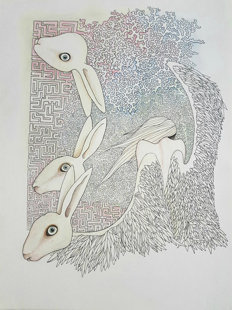 Title All his life he was a dancer, but no-one played the tunes he knew Medium Drawing pen, pencil and colored pencil on paper Size 30 x 50 cm