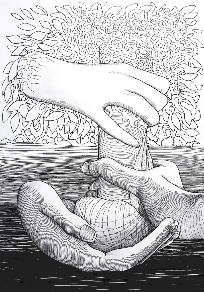 Title Fashioned to a device behind a tree Medium Drawing pen on paper Size 30 x 50 cm